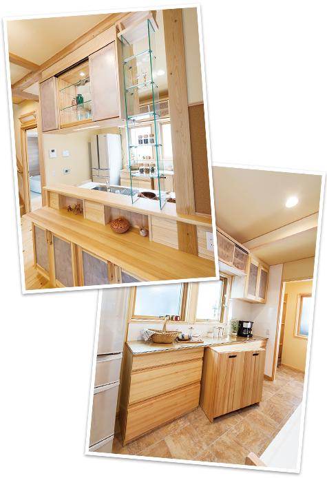 本物の無垢に囲まれたキッチンや洗面台